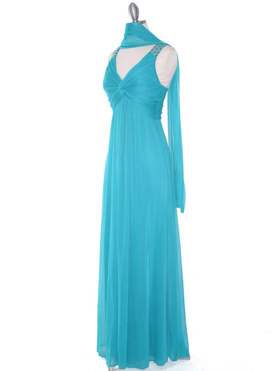 EV3065 Knot Decor Evening Dress - Jade, Alt View Medium