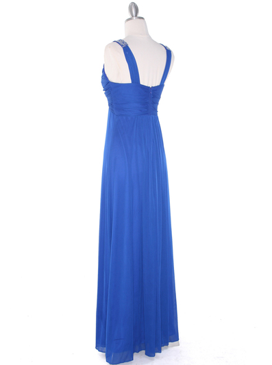EV3065 Knot Decor Evening Dress - Royal Blue, Back View Medium
