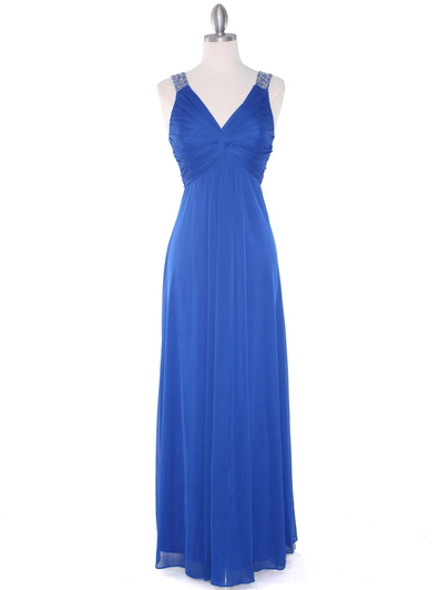 EV3065 Knot Decor Evening Dress - Royal Blue, Front View Medium
