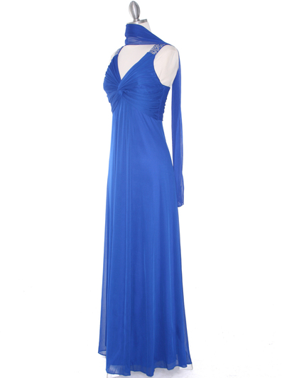 EV3065 Knot Decor Evening Dress - Royal Blue, Alt View Medium