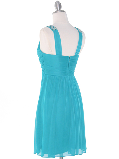 EV3068 Knot Decor Mesh Cocktail Dress - Jade, Back View Medium