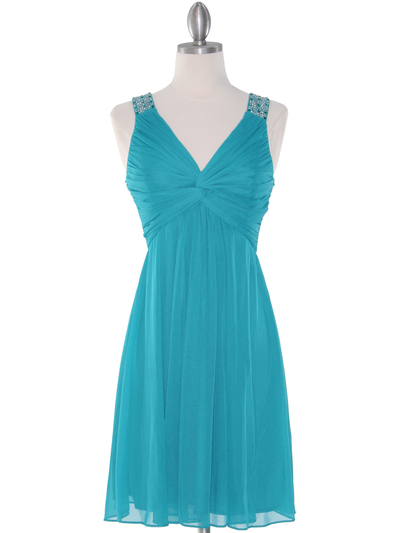 EV3068 Knot Decor Mesh Cocktail Dress - Jade, Front View Medium