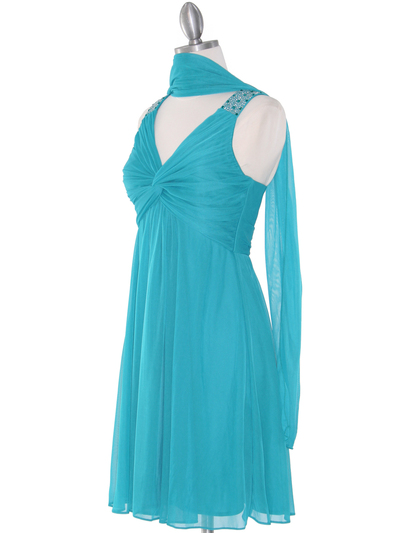 EV3068 Knot Decor Mesh Cocktail Dress - Jade, Alt View Medium