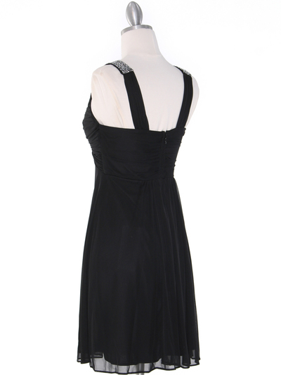 EV3068 Knot Decor Mesh Cocktail Dress - Black, Back View Medium
