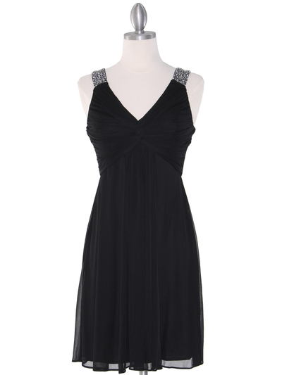 EV3068 Knot Decor Mesh Cocktail Dress - Black, Front View Medium