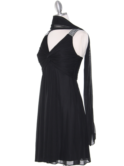 EV3068 Knot Decor Mesh Cocktail Dress - Black, Alt View Medium