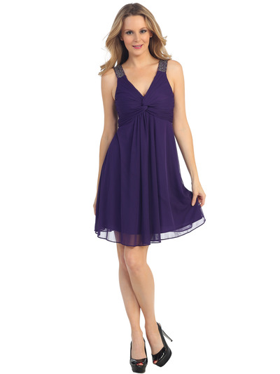 EV3068 Knot Decor Mesh Cocktail Dress - Purple, Front View Medium