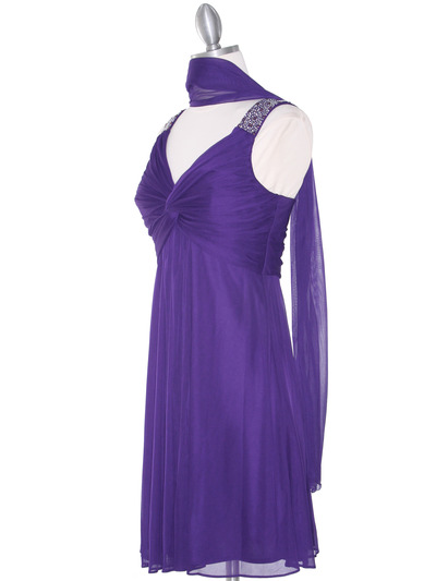 EV3068 Knot Decor Mesh Cocktail Dress - Purple, Alt View Medium