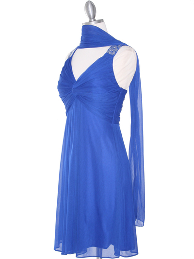 EV3068 Knot Decor Mesh Cocktail Dress - Royal Blue, Back View Medium