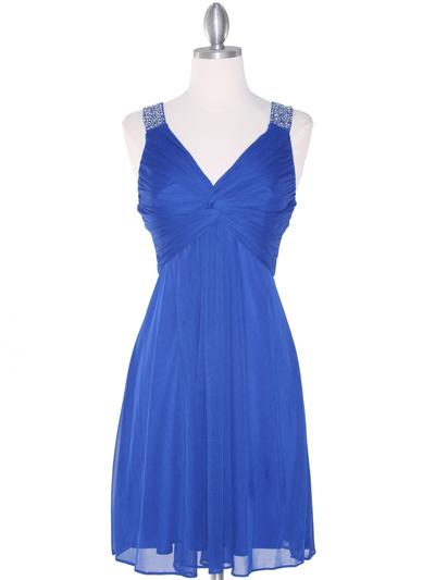 EV3068 Knot Decor Mesh Cocktail Dress - Royal Blue, Front View Medium