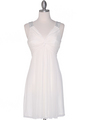 EV3068 Knot Decor Mesh Cocktail Dress - White, Front View Thumbnail