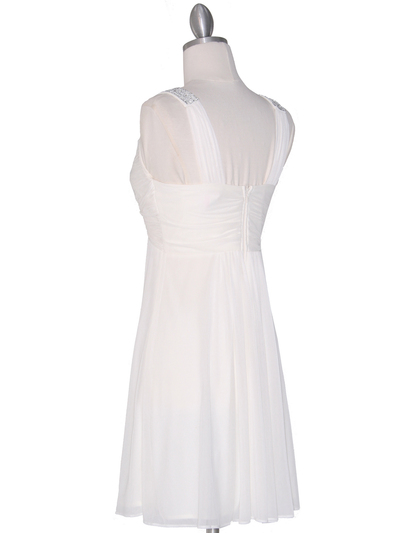 EV3068 Knot Decor Mesh Cocktail Dress - White, Back View Medium