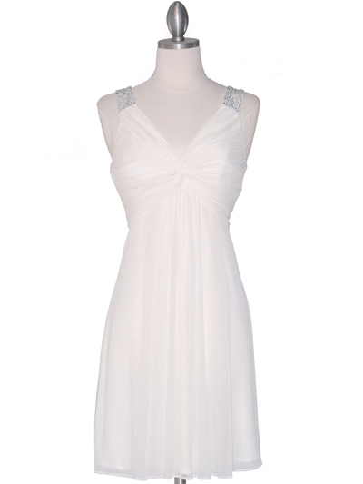EV3068 Knot Decor Mesh Cocktail Dress - White, Front View Medium