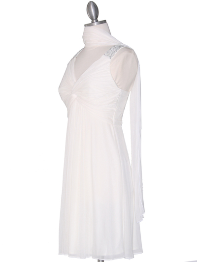 EV3068 Knot Decor Mesh Cocktail Dress - White, Alt View Medium
