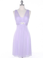 EV3069 Mesh Cocktail Dress with Rhinestone Brooch - Lilac, Front View Thumbnail