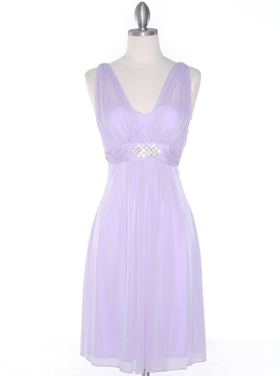 EV3069 Mesh Cocktail Dress with Rhinestone Brooch - Lilac, Front View Medium