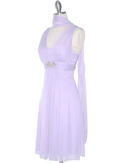 EV3069 Mesh Cocktail Dress with Rhinestone Brooch - Lilac, Alt View Medium
