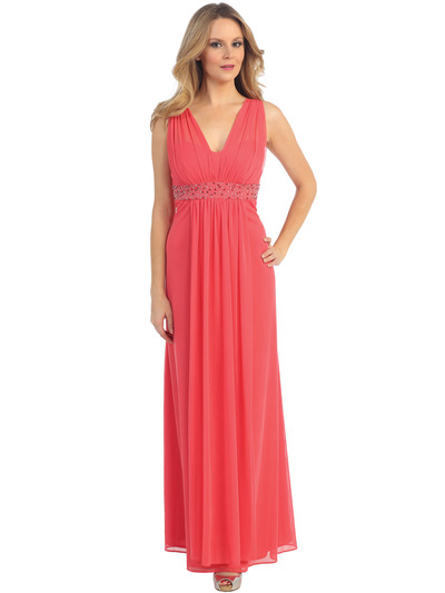 EV3072 Mesh Overlay Bodice Long Evening Dress - Coral, Front View Medium