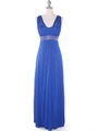 EV3072 Mesh Overlay Bodice Long Evening Dress - Royal, Front View Thumbnail