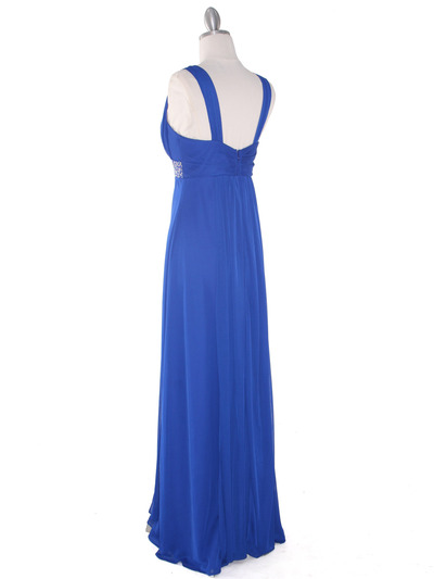 EV3072 Mesh Overlay Bodice Long Evening Dress - Royal, Back View Medium