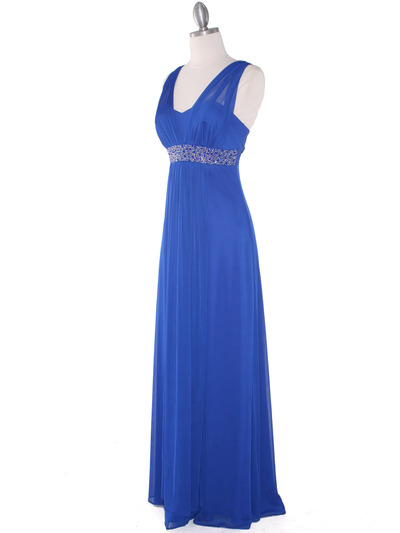 EV3072 Mesh Overlay Bodice Long Evening Dress - Royal, Alt View Medium