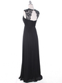 EV3073 Lace & Cap Sleeves Shoulder Evening Dress - Black, Back View Thumbnail