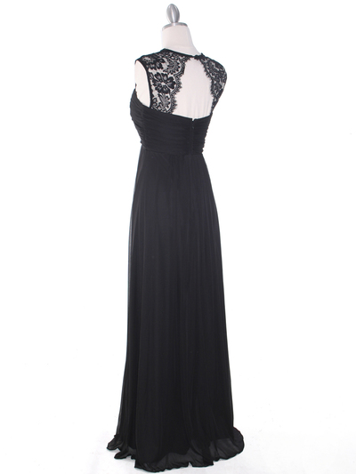EV3073 Lace & Cap Sleeves Shoulder Evening Dress - Black, Back View Medium