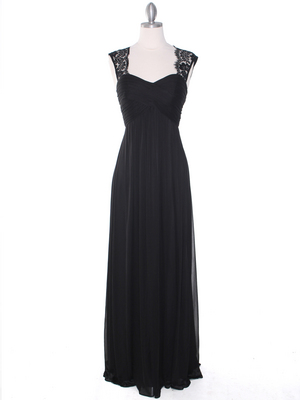 EV3073 Lace & Cap Sleeves Shoulder Evening Dress, Black