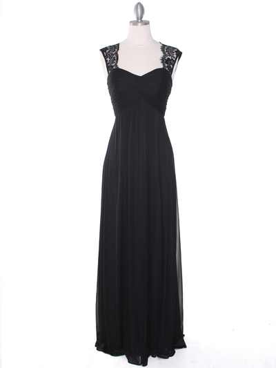 EV3073 Lace & Cap Sleeves Shoulder Evening Dress - Black, Front View Medium