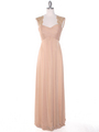 EV3073 Lace & Cap Sleeves Shoulder Evening Dress - Gold, Front View Thumbnail