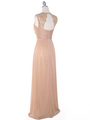 EV3073 Lace & Cap Sleeves Shoulder Evening Dress - Gold, Back View Thumbnail