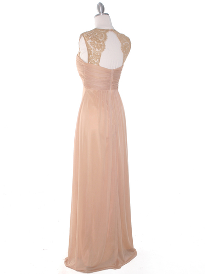 EV3073 Lace & Cap Sleeves Shoulder Evening Dress - Gold, Back View Medium