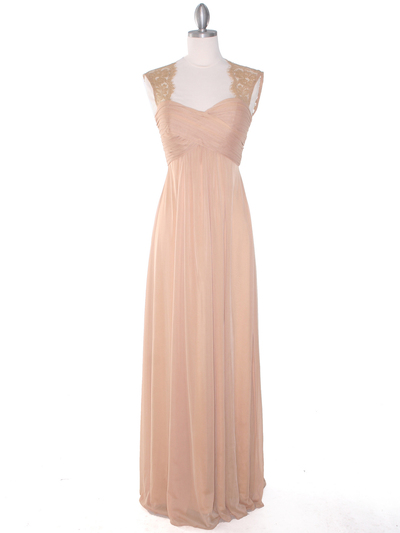 EV3073 Lace & Cap Sleeves Shoulder Evening Dress - Gold, Front View Medium