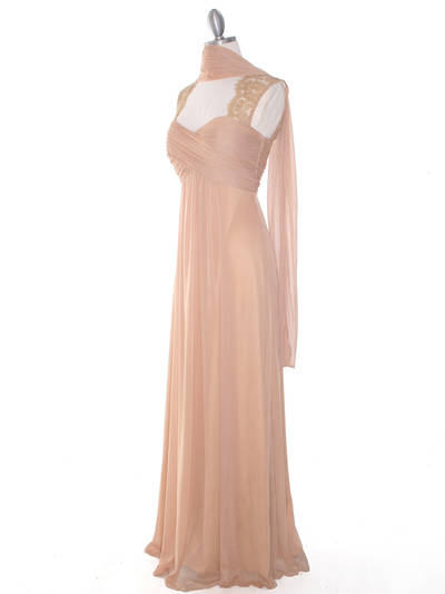 EV3073 Lace & Cap Sleeves Shoulder Evening Dress - Gold, Alt View Medium