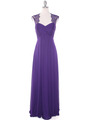 EV3073 Lace & Cap Sleeves Shoulder Evening Dress - Purple, Front View Thumbnail
