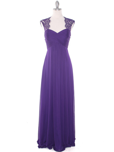 EV3073 Lace & Cap Sleeves Shoulder Evening Dress - Purple, Front View Medium