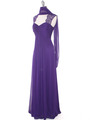 EV3073 Lace & Cap Sleeves Shoulder Evening Dress - Purple, Alt View Thumbnail