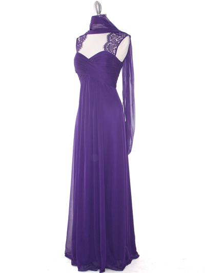 EV3073 Lace & Cap Sleeves Shoulder Evening Dress - Purple, Alt View Medium