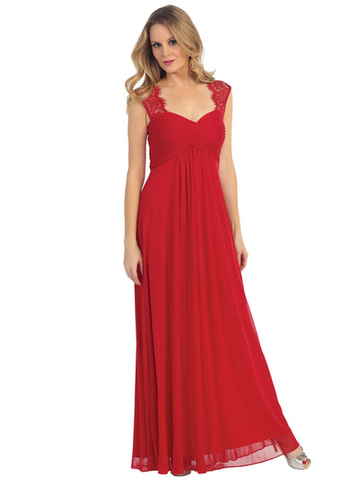 EV3073 Lace & Cap Sleeves Shoulder Evening Dress - Red, Front View Medium