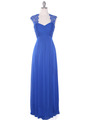 EV3073 Lace & Cap Sleeves Shoulder Evening Dress - Royal Blue, Front View Thumbnail