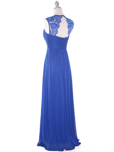 EV3073 Lace & Cap Sleeves Shoulder Evening Dress - Royal Blue, Back View Medium