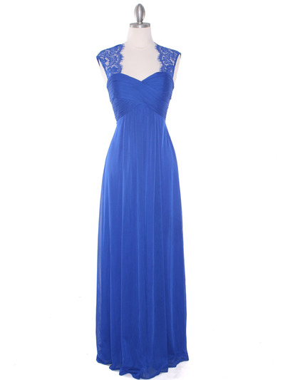 EV3073 Lace & Cap Sleeves Shoulder Evening Dress - Royal Blue, Front View Medium