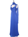 EV3073 Lace & Cap Sleeves Shoulder Evening Dress - Royal Blue, Alt View Thumbnail