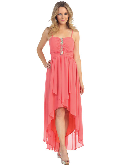 EV3075 Spaghetti Straps High-Low Evening Dress - Coral, Front View Medium