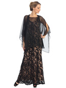 Chiffon Poncho MOB Evening Dress