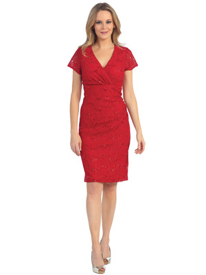 EV3079 Lace Short Sleeves Cocktail Dress, Red