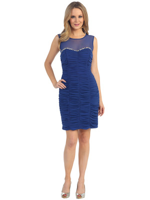 EV3082 Illusion Neckline Cocktail Dress, Royal