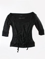FH001 Boatneck Mesh Top - Black, Front View Thumbnail