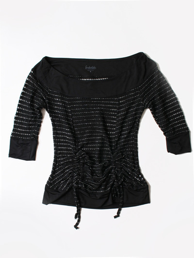 FH001 Boatneck Mesh Top - Black, Front View Medium