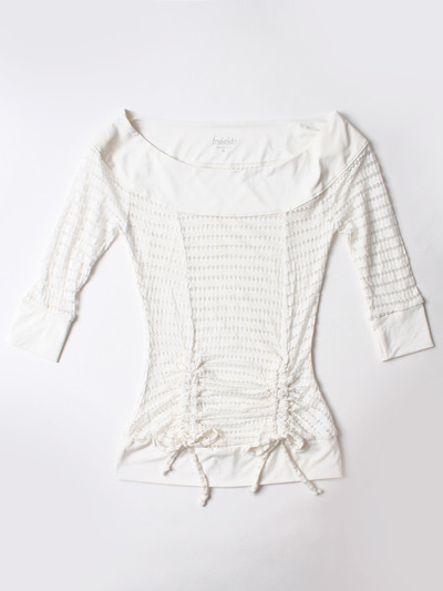 FH001 Boatneck Mesh Top - Off White, Front View Medium